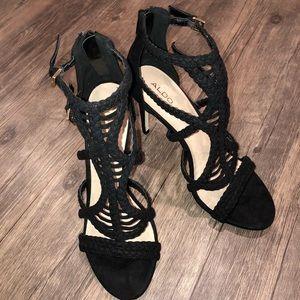 ALDO Black Braided Stilettos 9.5 Gold Metal